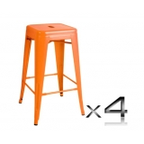 4x Replica Tolix Bar Stool 66cm - Orange