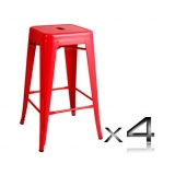 4x Replica Tolix Bar Stool 66cm - Red