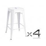 4x Replica Tolix Bar Stool 66cm - White
