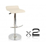 2 x PVC Leather Bar Stool - Beige