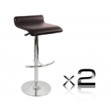 2 x PVC Leather Bar Stool - Choc