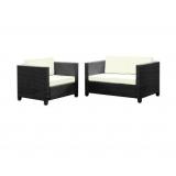 2 Piece Outdoor Sofa Lounge Furniture Set Black & Beige