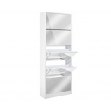 Mirrored Shoe Cabinet Storage 5 Drawers Shelf White