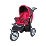 3 Wheel Baby Stroller with Bonus Rain Cover and Foot Cover - Red