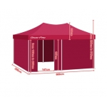 3m x 6m Folding Outdoor Gazebo Marquee - Red