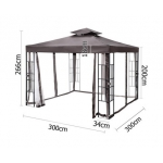 3m x 3m Steel Frame Outdoor Gazebo Marquee - Brown